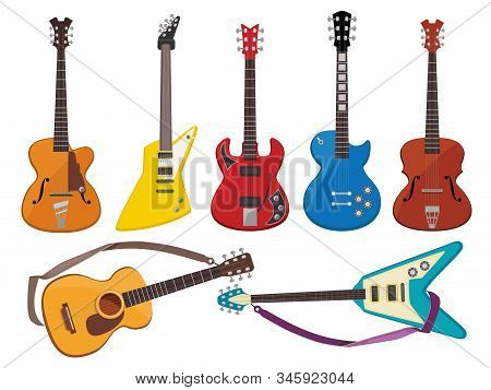 Guitars. Music Sound Plays Instruments Classical Acoustic And Rock Guitars Vector Collection. Acoust