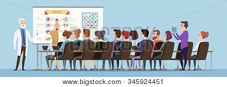 Professor Lecturer. Doctor Training Group Speech For Students Audience Vector Cartoon Background. Pr