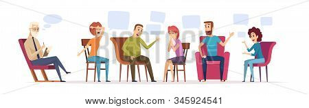 Group Therapy. Crowd Sitting Dialogue With Therapist Emotional Conversation Patient With Doctor Psyc