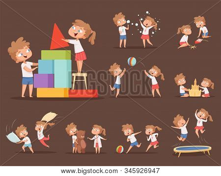 Brother And Sister Games. Kids Playing Together Jumping Running Family Playful Characters Boy And Gi