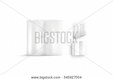 Blank White Paper Towel Transparent Pack Mock Up, Different Sides, 3d Rendering. Empty Poly Roll In