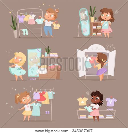Wardrobe Girl. Parent Help Choice Clothes For Kids Changing Room In Marketplace Vector Cartoon Illus