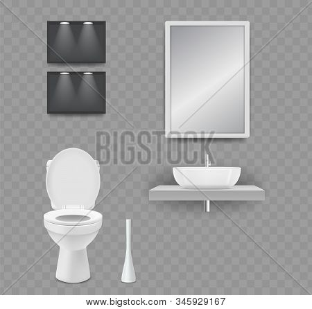Wc Room. Realistic Toilet, Sink And Mirror Isolated On Transparent Background. Vector Elements Restr