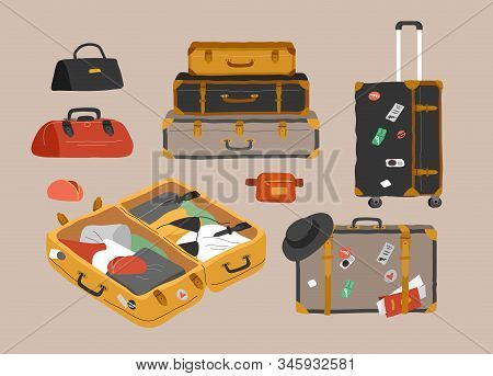 Set Of Various Vintage, Retro Luggage Bags, Open Suitcase With Packed Travel Stuff, Case, Clutch And