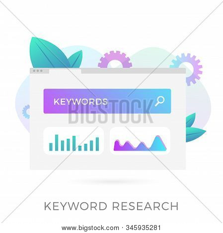 Keyword Research - Seo On-page Optimization Vector Flat Icon. Research And Analysis Popular Search T