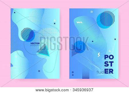 Pastel Abstract Memphis Background. Vector Flow Shapes. Liquid Cover. Vibrant Business Magazine. Hip