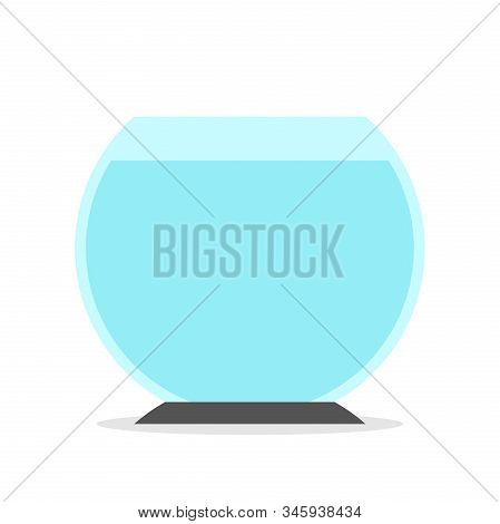 Round Empty Fishbowl Full Of Blue Water Isolated On White. Pet, Home, Freedom And Captivity Concept.
