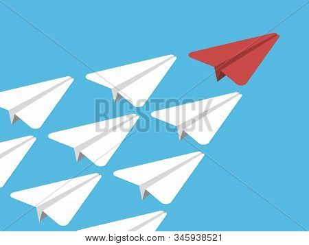 Isometric Beautiful Unique Red Leader Paper Plane. Competition, Leadership, Team Work, Management An