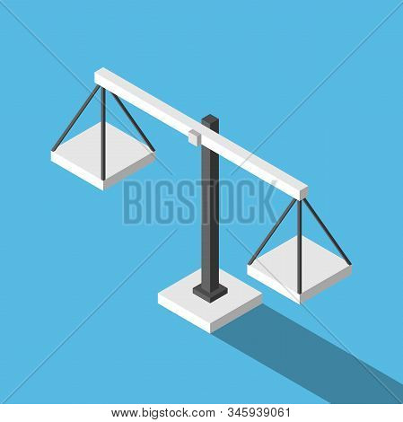 Isometric Simple Empty Weight Scales On Blue Background. Balance, Comparison, Justice, Equilibrium A