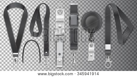 Black Lanyards With Metal Claw Clasp Vector Illustration