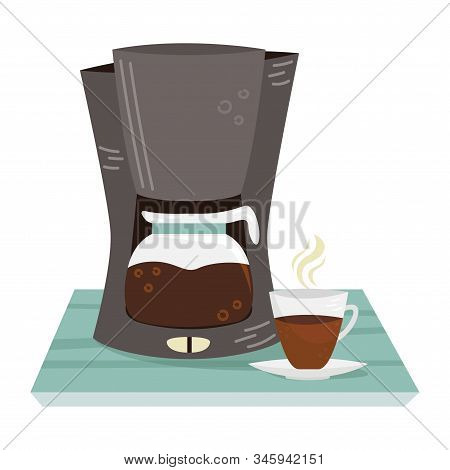 Flat Vector Coffee Maker And A Cup Of Coffee. Alternative Methods Of Brewing Coffee. Coffee Culture.