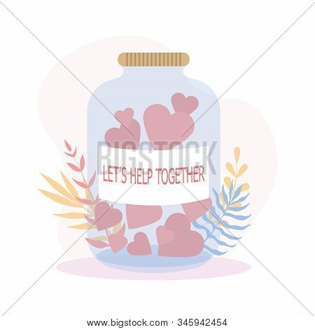 Donation Concept. Hearts In The Glass Jar As A Methaphor Of Philanthropy