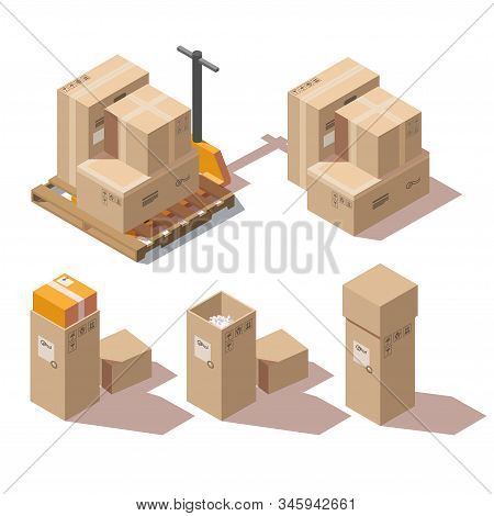 Isometric Cardboard Boxes Set And Hand Pallet Truck For Freight And Goods Transportation Isolated On