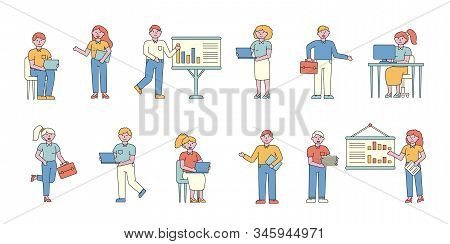 Businessmen And Businesswomen Flat Charers Set. Business People Professional. Entrepreneurs Making P