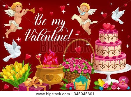 Be My Valentine Lettering And Symbols Of Love. Vector February 14 Holiday, Cupids With Trumpet And S
