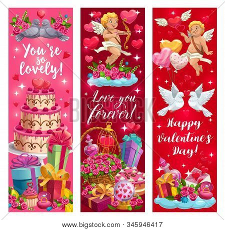 Lovely Valentines Day Greetings. Declaration Of Forever Love, Cupids, Passion And Dating Symbols. Ve