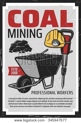 Coal Mining, Iron And Ore Excavation Equipment. Vector Mining Industry, Coal Extraction Factory And