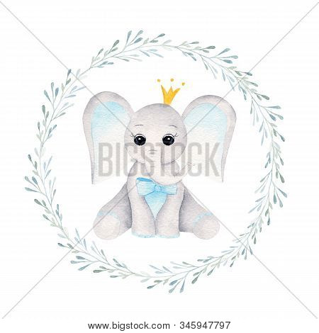 Prince Baby Elephant In Floral Frame Hand Drawn Raster Illustration. Animal Boy And Plant Twigs With
