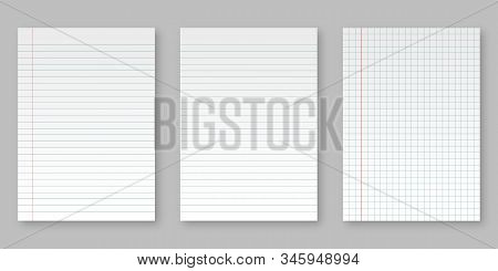 Realistic Blank Sheets Of Square And Lined Paper From. Art Design Lines, Grid Page Notebook With Mar