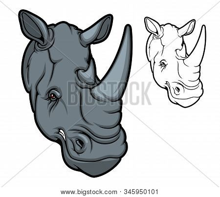 Rhino Animal Head Mascot, Two Horned Cartoon Black Rhinoceros. Angry African Savanna Mammal With Red
