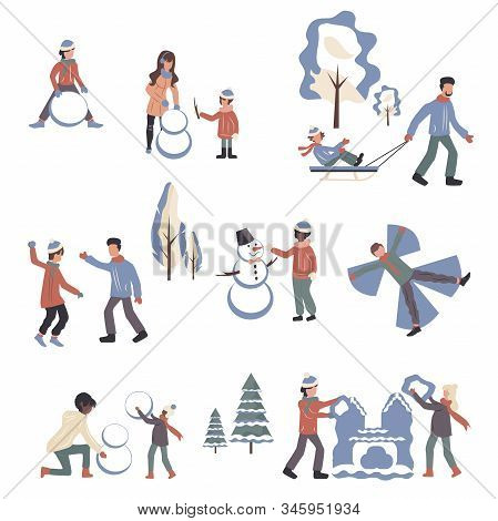 People In Winter Clothes Cartoon Characters Set. Wintertime Activities Flat Vector Illustrations Pac
