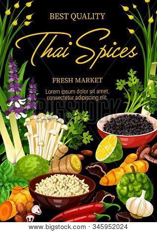 Thai And Herbs, Vector Asian Food Condiments And Seasonings. Basil, Kaffir Lime And Lemongrass, Chil