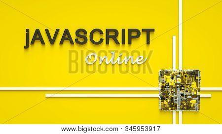 3d Rendering Of Advertising Banner For Javascript E-learning. Concept Of Javascript Programming Lang