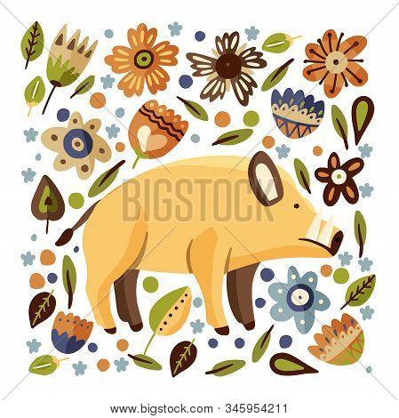 Wild Boar Woodland Flat Vector Animal Square Illustration. Cute Cartoon Hog Character With Ornate Fl