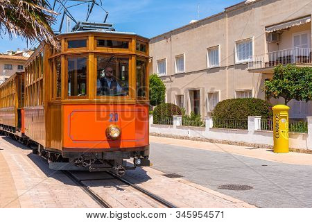 Mallorca, Spain - May 7, 2019: Electric Tram Running At The Port Of Soller In Majorca