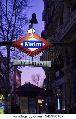 Madrid, Spain - January 10, 2020. La Latina Metro Subway Station Sign At Nightfall. Madrid, Spain.