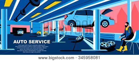 Auto Service Flat Vector Landing Page Template. Car Repair And Maintenance Service Banner Layout Wit