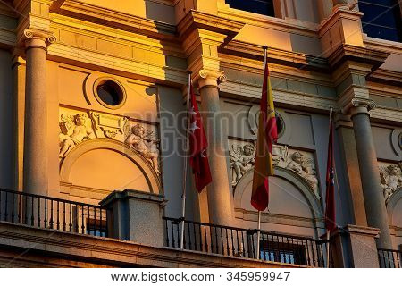 Madrid, Spain - January 10, 2020. Detail Of The West Facade Of The Royal Theatre (teatro Real Or Sim
