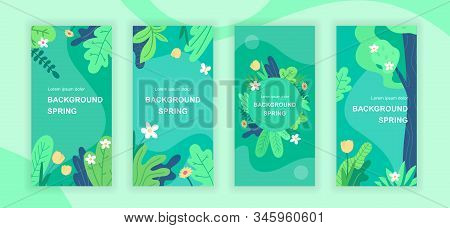 Spring Abstract Social Media Stories Design Templates Vector Set, Backgrounds With Copyspace - Green