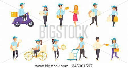 Mail Delivery Flat Vector Illustrations Set. Post, Letters And Parcels Transportation Scenes Bundle.