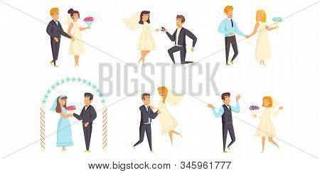 Wedding Flat Vector Illustrations Set. Marriage Scenes Bundle. Enamored People, Fiance And Fiancee,