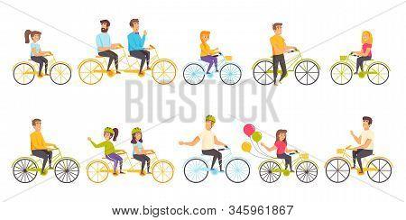 Bicyclists Flat Vector Illustrations Set. Sport Activity, Recreation, Active Leisure Scenes Bundle.