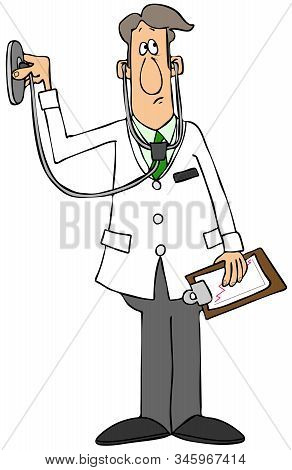 Illustration Of A Male Doctor Wearing A White Lab Coat Holding Up A Stethoscope.