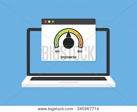 Laptop With Speed Test On Screen, On Blue Background. Vector Illustration. Laptop Front View. Downlo