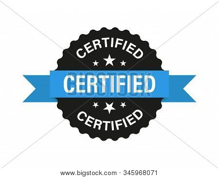Certified Vector Isolated Sign With Blue Ribbon On White Background. Certified Product. Vector Label