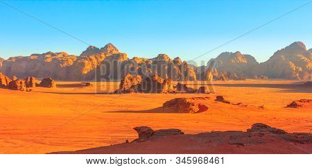 Banner Panorama Of Scenic Landscape Of Wadi Rum Desert And Valley Of The Moon At Sunset Light In Sou