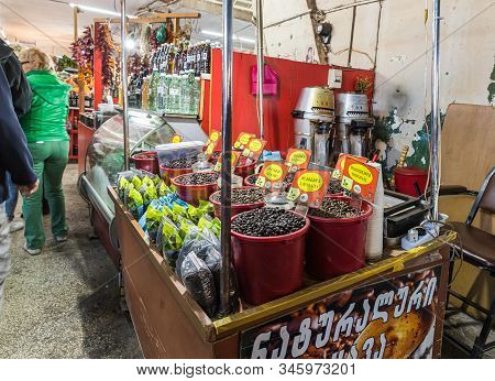 Kutaisi, Georgia, October 13, 2019 : Coffee Beans Counter In A Market In The Old Part Of Kutaisi In