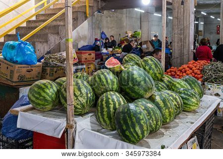 Kutaisi, Georgia, October 13, 2019 : Counter With Large Georgian Watermelons In The Market In The Ol