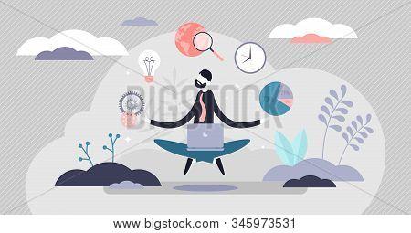 Business Internet Guru Concept, Flat Tiny Person Vector Illustration. Work Stress Balance And Financ