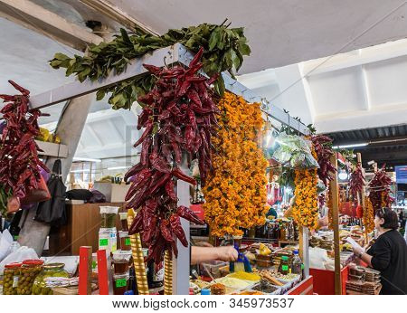 Kutaisi, Georgia, October 13, 2019 : Spice Counter In The Market In The Old Part Of Kutaisi In Georg