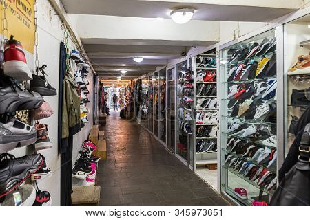 Kutaisi, Georgia, October 13, 2019 : Shoe Market Located In The Underpass Near The Market In The Old