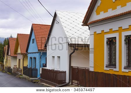 Old Medieval Street With Colorful Ancient Houses In Liptovsky Jan ( Liptovský Ján ) Village In Low T