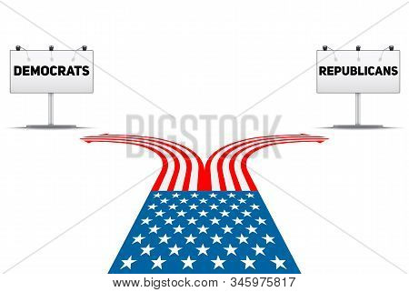 Standing At The Crossroad Making Usa Political Party Choice. Flag In The Shape Of The Road To The Re