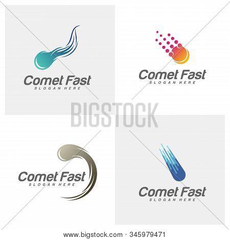 Set Of Comet Logo Vector, Comet Logo Design Template, Icon Symbol, Illustration