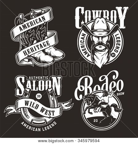Monochrome Wild West Labels With Cowboy And Rodeo Vintage Emblems And Prints Isolated Vector Illustr