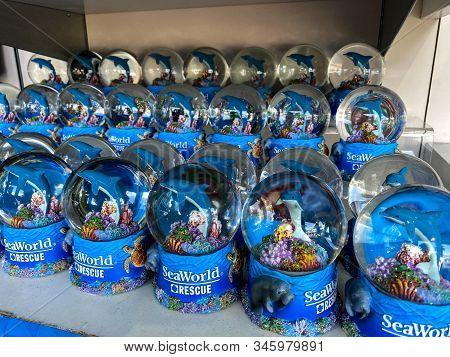 Orlando,fl/usa-1/17/20: A Shelf Of Manatee, Dolphin And Sea Turtle Souvenir Snowglobes  At Seaworld